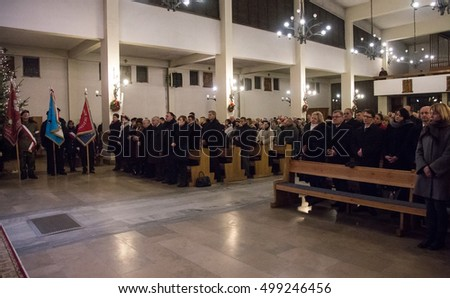 Starachowice, Poland, circa January 2016. The Leader of Polish ruling party, Law and Justice (PIS), Jaroslaw Kaczynski attends a mass in catholic church in Starachowice in central Poland.