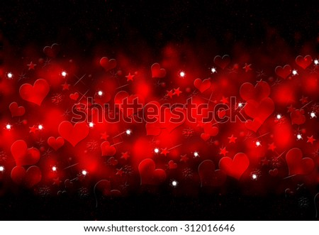 Starburst. Abstract holiday glowing red background. Bokeh lights . Valentine Day love beautiful. Red hearts background. Pixie dust. Magic background. Red and black bokeh. Star burst. Valentines day. - stock photo