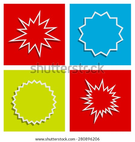 starburst splash star abstract background design set - stock photo