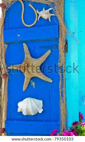 Starfish and seashell marine life background - stock photo