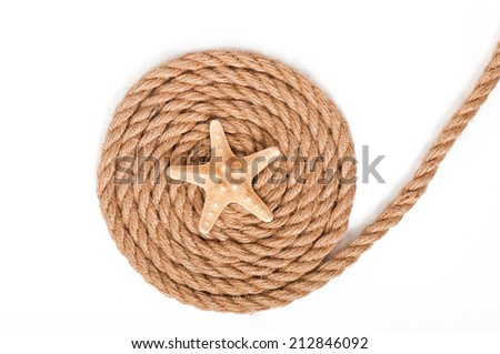 starfish and ship ropes isolated on white background - stock photo