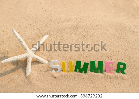 starfish and summer on the beach - stock photo