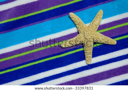 Starfish on colorful striped beach towel, room for copy space