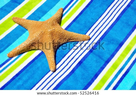 Starfish on pretty beach towel