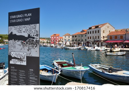 STARI GRAD, CROATIA - JULY 17: Panorama of historical centre with a city map of Stari Grad on July 17, 2012. Stari Grad is a town on the northern side of the island of Hvar in Dalmatia, Croatia.  - stock photo