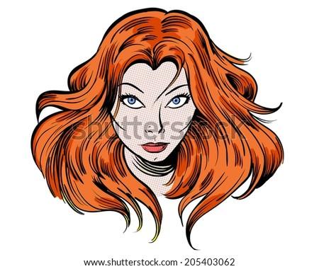 staring redhead cartoon girl illustration character - stock photo