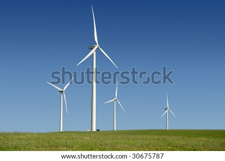 Stark White Electrical Power Generating Windmills, Turbines on Rolling Hills of Green Wheat, Rio Vista, California