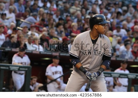 Starlin Castro second baseman for the New York Yankees at Chase Field in Phoenix AZ USA 5-18-16.