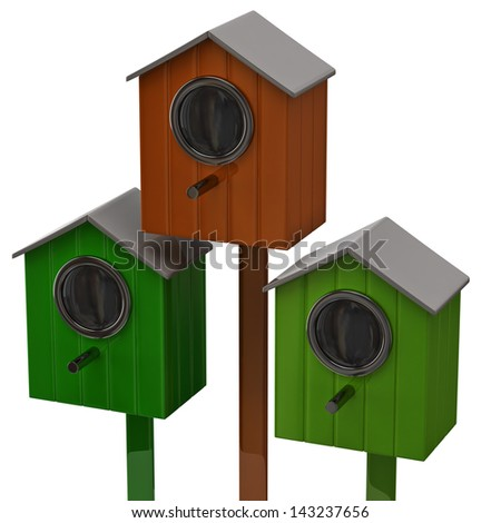 Starling houses - stock photo