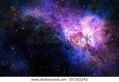 starry deep outer space nebual and galaxy - stock photo