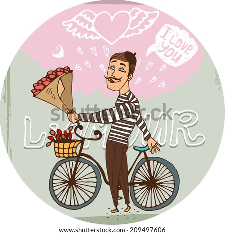 Starry eyed amorous Frenchman on a bicycle with a bouquet red roses serenading his sweetheart as he declares his love for her on Valentines  hand-drawn illustration - stock photo