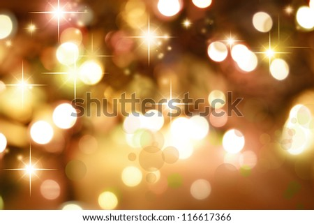 Starry golden tone Christmas background - stock photo