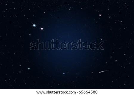 starry night, shooting star - stock photo