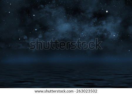 starry night sky illustration with stars and blue nebula, with reflection in water with waves - stock photo