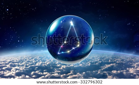 starry night star crystal ball of Horoscopes and Zodiac Signs - stock photo