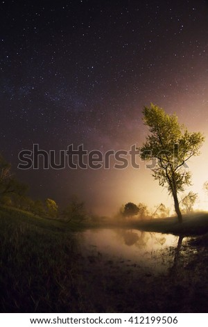 starry night, the stars over the lake, green grass, trees illuminated by a flashlight, the Milky Way, fisheye photo, mist over the lake, magical atmosphere, starry sky, stars in the sky, lonely tree  - stock photo