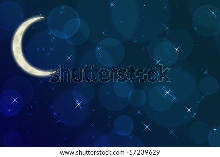 starry night with moon abstract background - stock photo