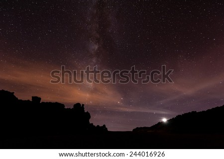 Starry Night with the Milky Way above Tenerife/Spain, in the Teide National Park. - stock photo