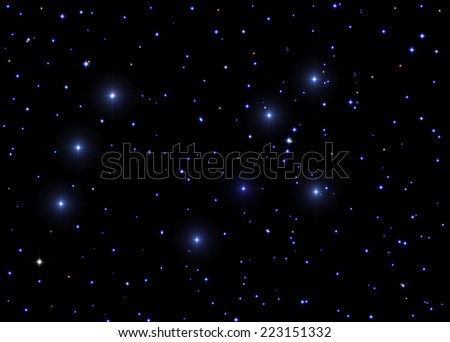 Starry skies on a black clipping background. - stock photo
