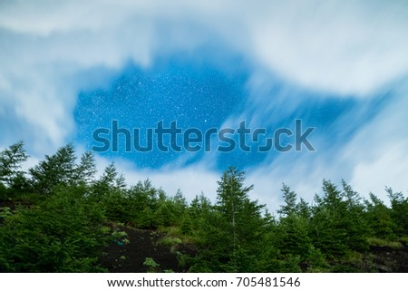 Starry Sky and Mountains