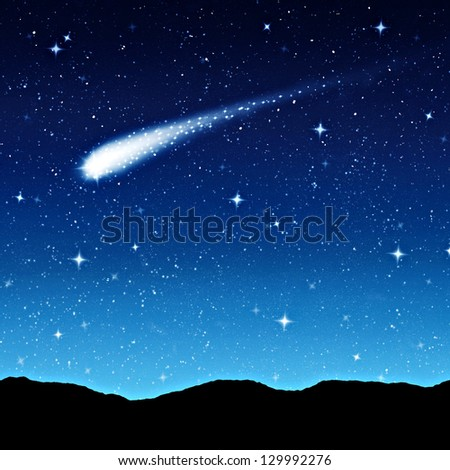 starry sky at night with comet or shooting star - stock photo