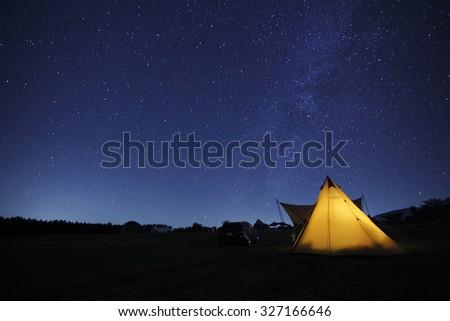 Starry sky camp - stock photo