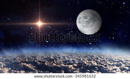 starry star night with full moon in cloudscape - Elements of this Image Furnished by NASA