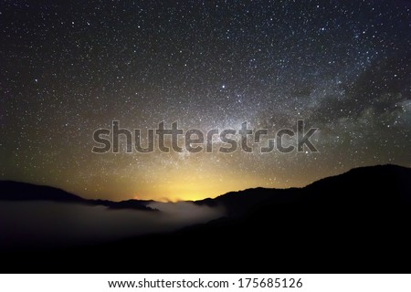 Stars and clouds - stock photo