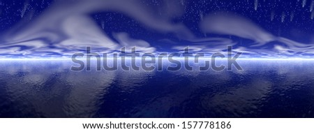 Stars and comets over the ocean by dark night - stock photo