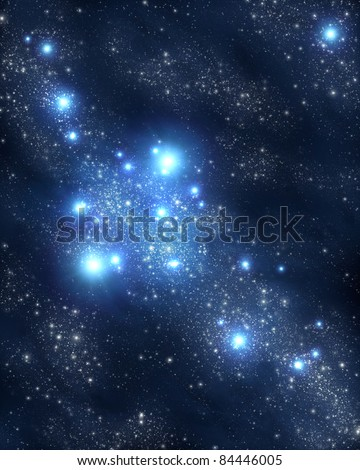 stars and nebulae - stock photo