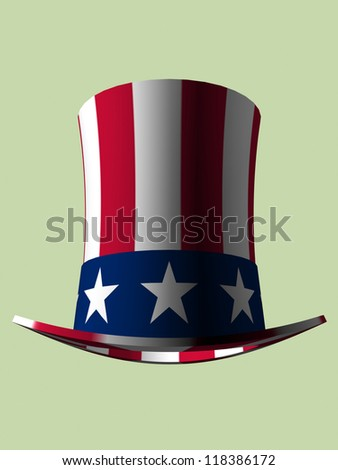 stars and stripes top hat - stock photo
