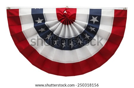 Stars and Stripes USA Pleated Bunting Isolated on White Background. - stock photo