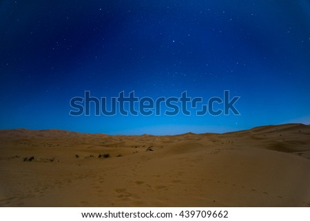 Stars at night over the dunes, Sahara Desert, Hassilabied, Morocco