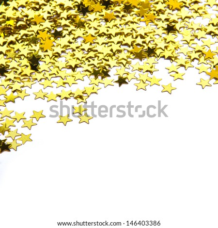 stars confetti , side of the yellow small stars isolated on white background - stock photo