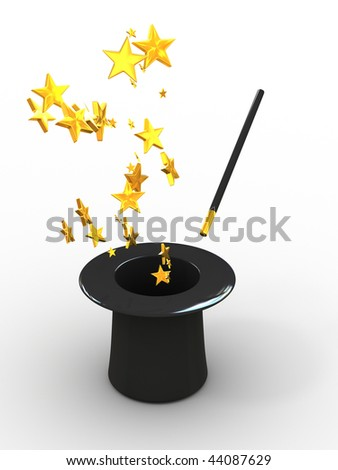 Stars from hat. 3d - stock photo