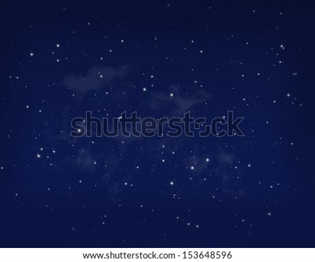 Stars in a night blue sky background - stock photo