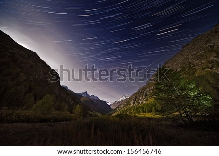 stars in the mountains - stock photo