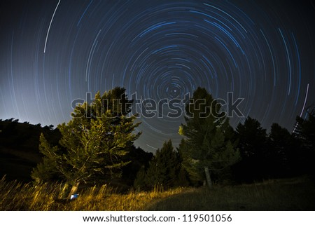 Stars Long Exposure - stock photo