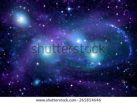 """Stars of a planet and galaxy in a free space """"Elements of this image furnished by NASA"""" - stock photo"""