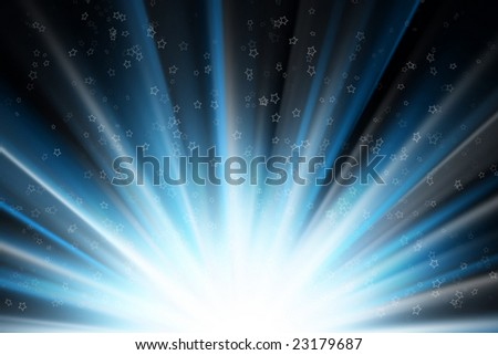 Stars on a blue rays of light, black background - stock photo