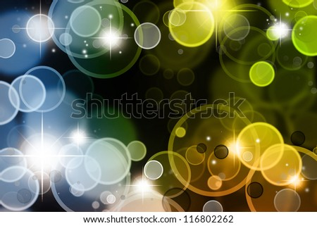Stars on blue and green tone background