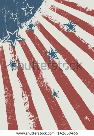 Stars on scratched american flag texture. Raster version, vector file available in portfolio. - stock photo