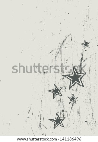 Stars on scratched beige texture. Raster version, vector file available in my portfolio. - stock photo