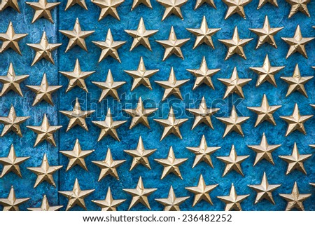 Stars on the Freedom Wall in Washington DC. - stock photo