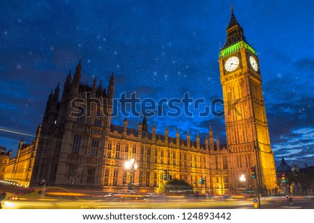 Stars over Big Ben and House of Parliament at dusk from Westminster Bridge - London - UK - stock photo