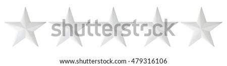 Stars rating isolated on white background, 3D rendering