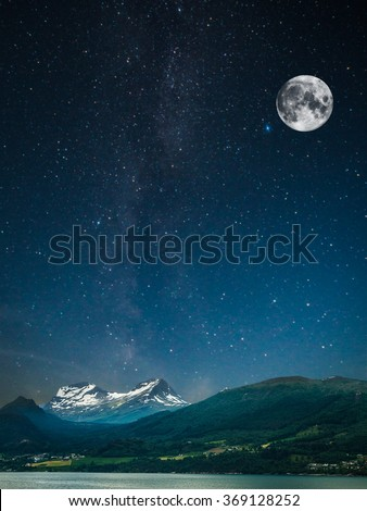 stars shine in the sky over the fjords. Milky Way - stock photo