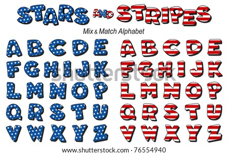 Stars & Stripes Alphabet. Original design, mix & match in red, white & blue. For Fourth of July, summer picnics, reunions, patriotic celebrations and holidays. - stock photo