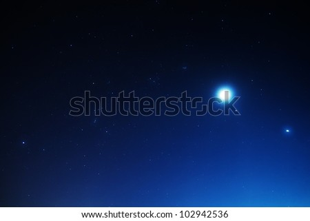 Stars with Moon and planets Jupiter and Venus - stock photo