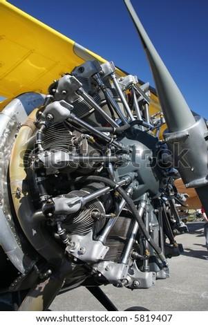 Starshaped plane engine - stock photo